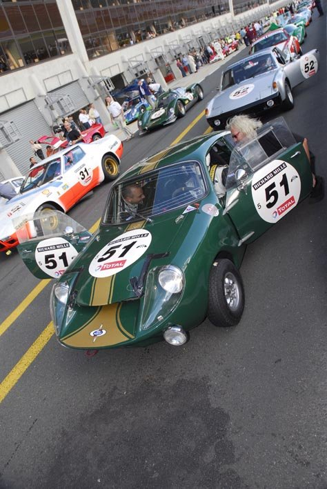 Green Mini Marcos heads to the track